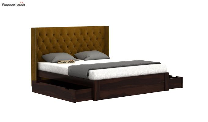 Drewno Upholstered Bed With Storage (King Size, Olive Gold)-5