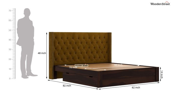 Drewno Upholstered Bed With Storage (Queen Size, Chestnut Brown)-7