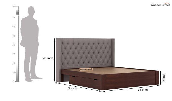 Drewno Upholstered Bed With Storage (King Size, Warm Grey)-8