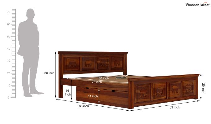 Emboss Bed With Storage (Queen Size,Honey Finish)-8