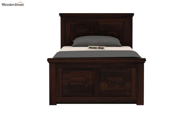 Emboss Single Bed With Storage (Walnut Finish)-5