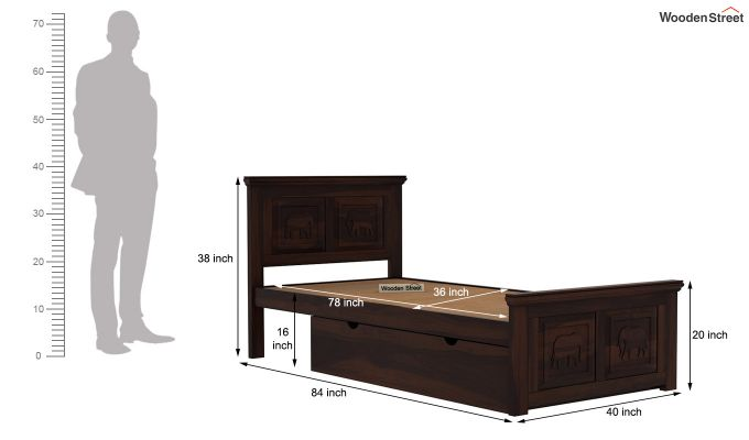 Emboss Single Bed With Storage (Walnut Finish)-8