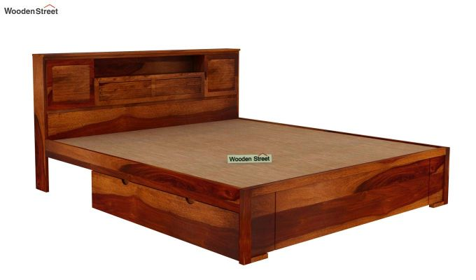 Ferguson Bed With Storage (King Size, Honey Finish)-5
