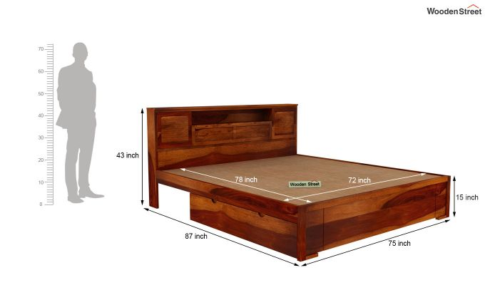 Ferguson Bed With Storage (King Size, Honey Finish)-6