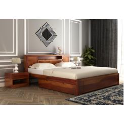 Ferguson Bed With Storage (King Size, Honey Finish)