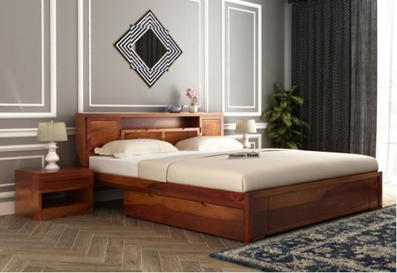 Wooden King size bed design with storage in Hyderabad