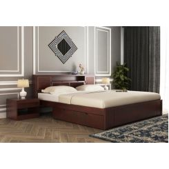 Ferguson Bed With Storage (King Size, Mahogany Finish)