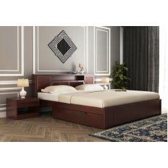 Ferguson Bed With Storage (King Size, Mahogany Finish)