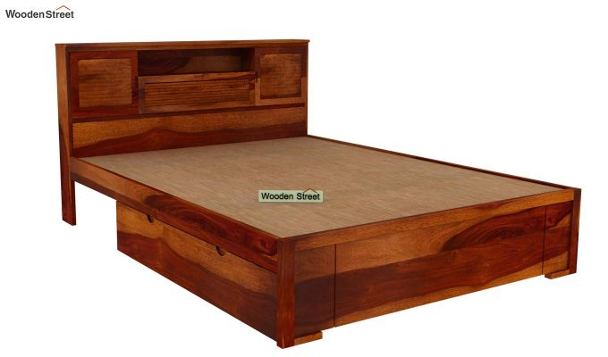Ferguson Bed With Storage (Queen Size, Honey Finish)-4