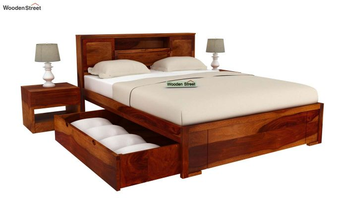 Ferguson Bed With Storage (Queen Size, Honey Finish)-5