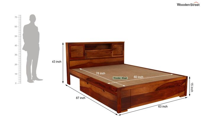 Ferguson Bed With Storage (Queen Size, Honey Finish)-6
