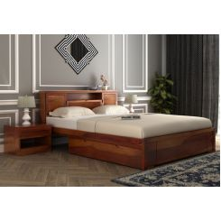 Ferguson Bed With Storage (Queen Size, Honey Finish)
