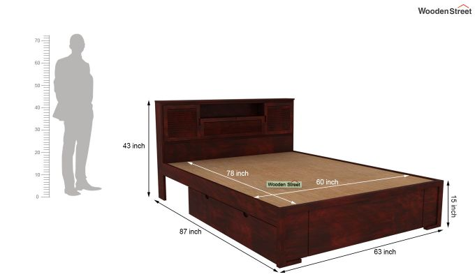 Ferguson Bed With Storage (Queen Size, Mahogany Finish)-6