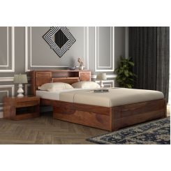 Ferguson Bed With Storage (Queen Size, Teak Finish)