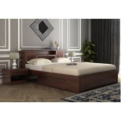 Ferguson Bed With Storage (Queen Size, Walnut Finish)