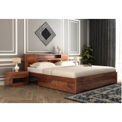 Ferguson Bed With Storage (King Size, Teak Finish)