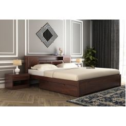 Ferguson Bed With Storage (King Size, Walnut Finish)