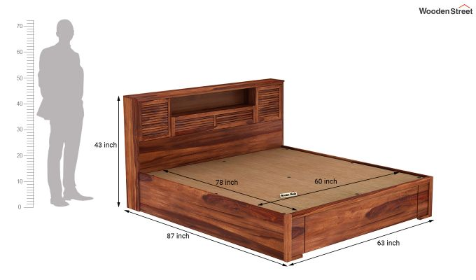 Ferguson Hydraulic Bed (Queen Size, Honey Finish)-9