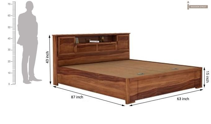 Ferguson Hydraulic Bed (Queen Size, Teak Finish)-11