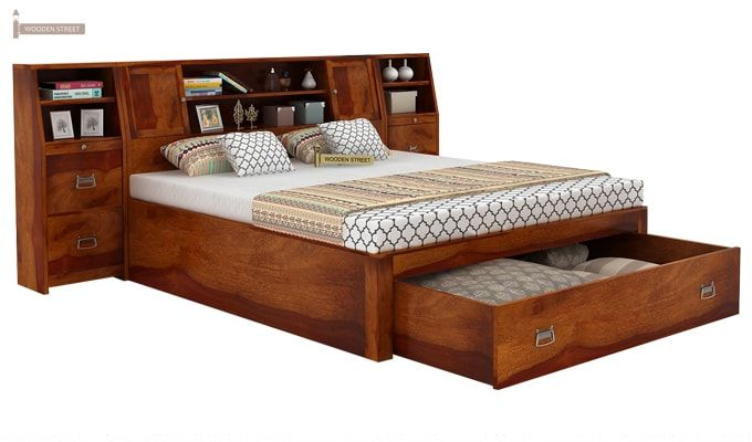 Harley Bed With Storage (Queen Size, Honey Finish)-3