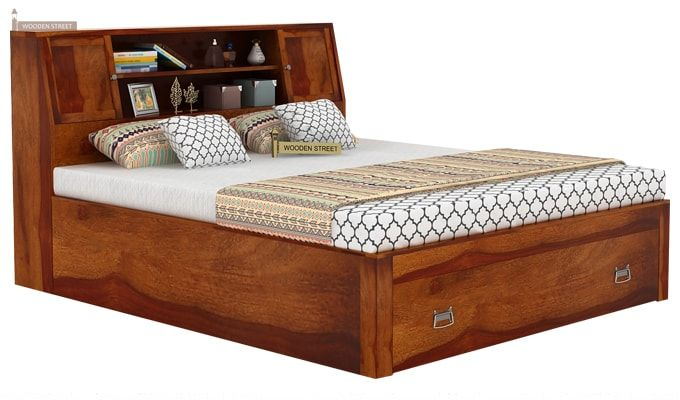 Harley Bed With Storage (Queen Size, Honey Finish)-4