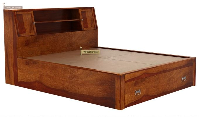 Harley Bed With Storage (Queen Size, Honey Finish)-5