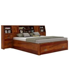 Harley Bed With Storage (Queen Size, Honey Finish)