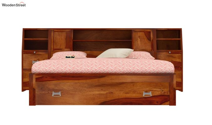 Harley Storage Bed with Bedside (Queen Size, Honey Finish)-3