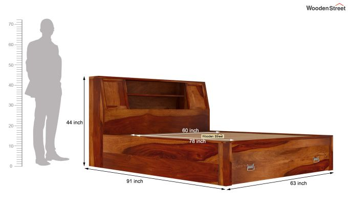 Harley Storage Bed with Bedside (Queen Size, Honey Finish)-9