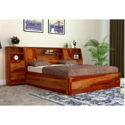 Harley Bed With Storage (King Size, Honey Finish)