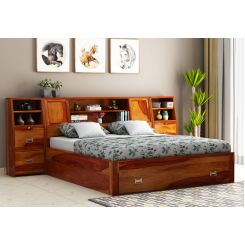 Harley Storage Bed with Bedside (King Size, Honey Finish)