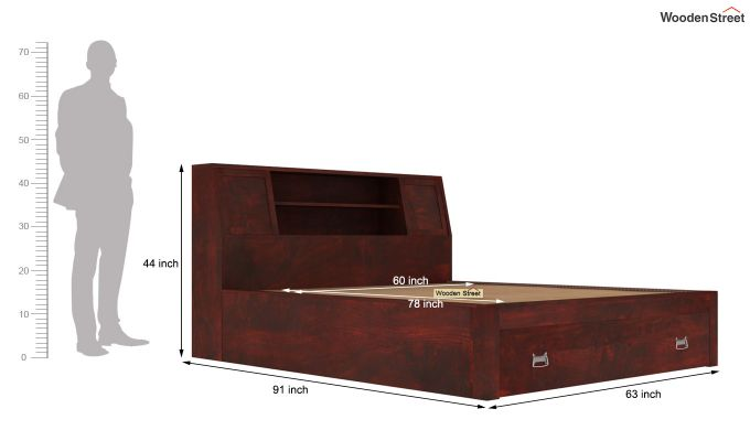Harley Storage Bed with Bedside (Queen Size, Mahogany Finish)-7