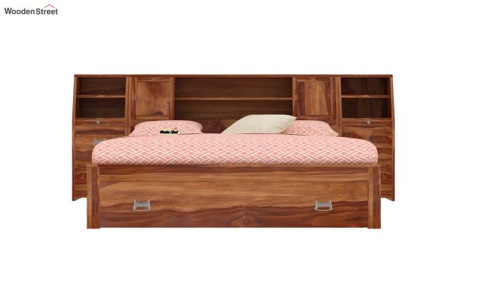 Harley Storage Bed with Bedside (Queen Size, Teak Finish)-2