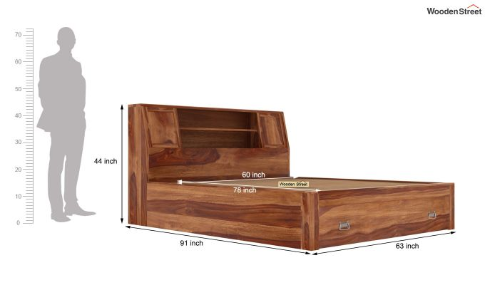 Harley Bed With Storage (Queen Size, Teak Finish)-7