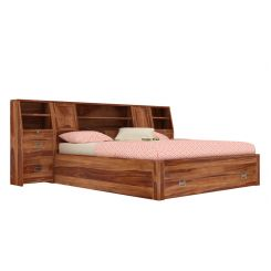 Harley Bed With Storage (King Size, Teak Finish)