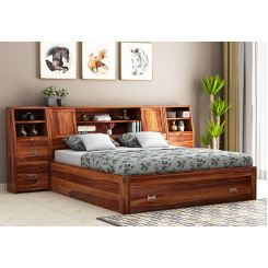 Harley Storage Bed with Bedside (King Size, Teak Finish)