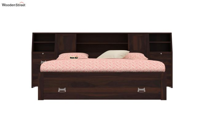 Harley Storage Bed with Bedside (Queen Size, Walnut Finish)-2