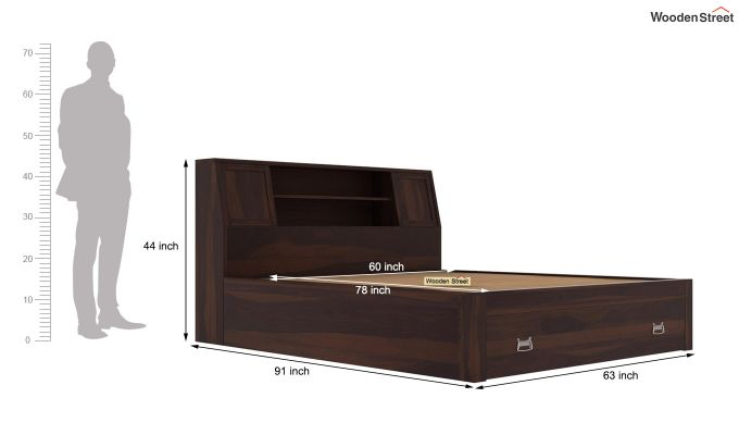 Harley Storage Bed with Bedside (Queen Size, Walnut Finish)-8