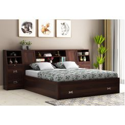 Harley Storage Bed with Bedside (King Size, Walnut Finish)