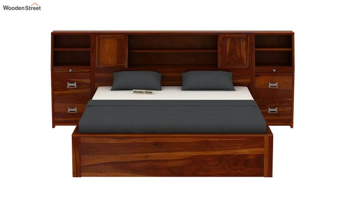 Harley Hydraulic Bed with Bedside (King Size, Honey Finish)-3