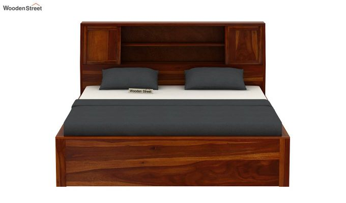 Harley Hydraulic Bed with Bedside (King Size, Honey Finish)-5