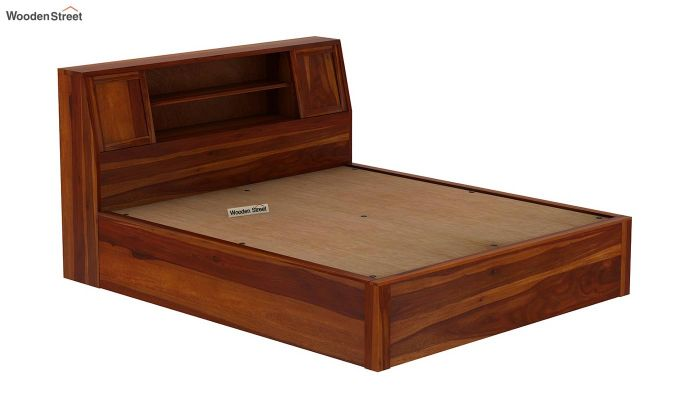 Harley Hydraulic Bed with Bedside (King Size, Honey Finish)-8