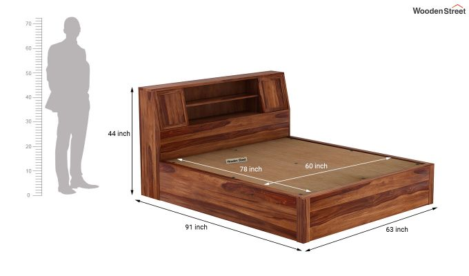 Harley Hydraulic Bed with Bedside (Queen Size, Teak Finish)-9
