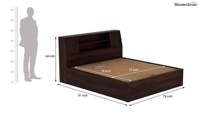 Harley Hydraulic Bed with Bedside (King Size, Walnut Finish)-9