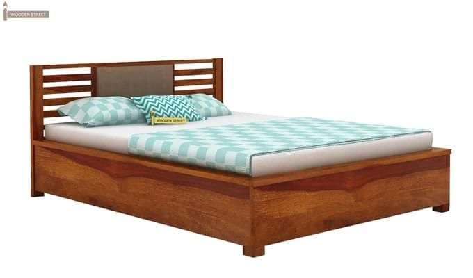 Hether Hydraulic Bed (King Size, Honey Finish)-1