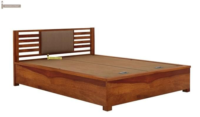 Hether Hydraulic Bed (King Size, Honey Finish)-3