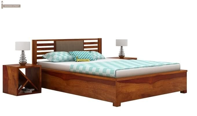 Hether Hydraulic Bed (King Size, Honey Finish)-2