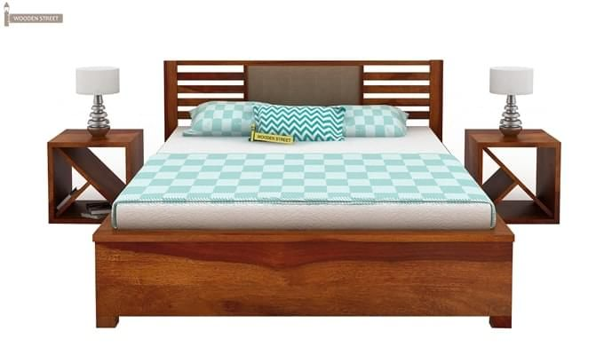 Hether Hydraulic Bed (King Size, Honey Finish)-5