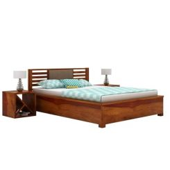 Hether Hydraulic Bed (Queen Size, Honey Finish)