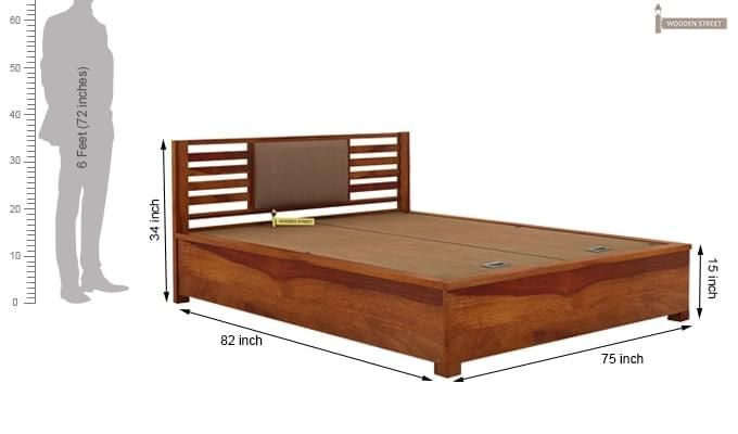 Hether Hydraulic Bed (King Size, Honey Finish)-10